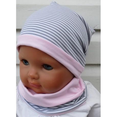 Mütze Schal Set Kinder Mädchen Rosa Grau geringelt zauberhaft aus Jersey genäht. Fürs ganze Jahr. KU 39-55 cm