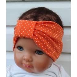 Stirnband Baby Kinder Mädchen Orange Weiß Punkte aus Jersey genäht. Wendeband für Kids. Farbe, KU 36-55