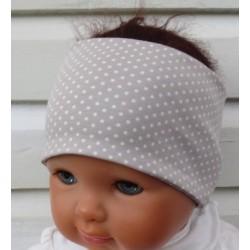 Haarband Kinder Baby Sommer Mädchen Beige Punkte aus Jersey genäht. Zum Wenden. Farbe, KU 36-55 cm