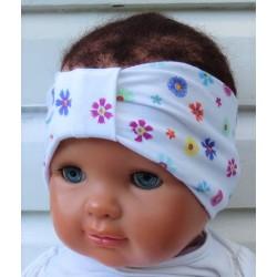 Haarband Kinder Baby Blumen Mädchen Weiß Bunt Sommer aus Jersey genäht. Hübsches Wendeband. KU 36-55