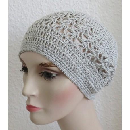 Häkelmütze Damen Grau Sommer Long Beanie aus Baumwolle gehäkelt. Das Muster ist wunderschön. Viele Farben, KU 54-62 cm