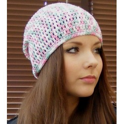 Sommermütze Damen Beanie Rosa Mint Bunt aus Baumwolle gehäkelt. Hübsch als Long. Farbe, KU 54-62 cm