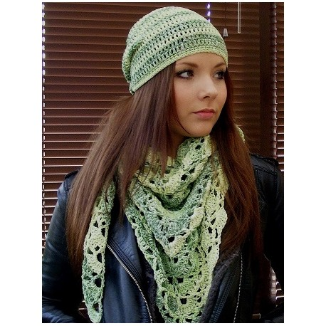Häkelmütze Damen Beanie Sommer Grün Bunt aus Baumwolle Mix gehäkelt. Modisch als Long. Farbe, KU 54-62 cm