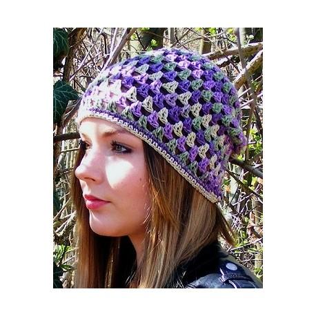 Sommermütze Damen Beanie Bunt aus Baumwolle Mix gehäkelt. Toll als Long. Farbe, KU 54-62 cm