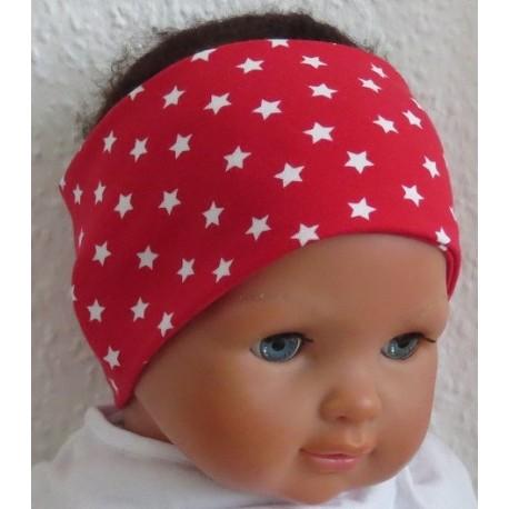 Stirnband Kinder Sommer Mädchen Rot Sterne aus Jersey genäht. Auch mit Mittelteil. Farbe, KU 36-55 cm