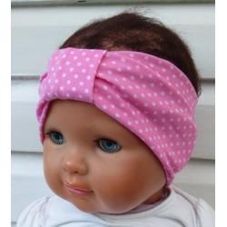 Stirnband Kinder Jersey Mädchen Sommer Rosa mit Punkten genäht. Zauberhaft mit Mittelteil. Farbe, KU 36-55