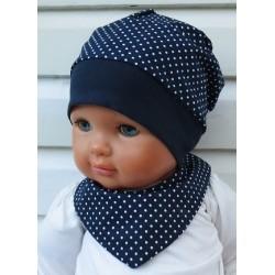 Dreieckstuch Baby Mädchen Set mit Beanie aus Baumwolle, Jerseybund genäht. Einfach hübsch. Farbe, KU 39-55 cm