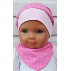 Sommermütze Baby Set Dreieckstuch Rosa gepunktet aus Jersey genäht. Ein Stirnband im Shop. Farbe, KU 39-55 cm