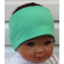 Stirnband Kinder Sport Jungen Jersey Grün Streifen zum Wenden genäht. Cool für den Sommer. KU 36-55 cm