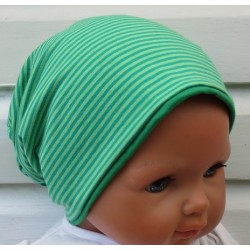 Sommermütze Junge Baby Jersey Grün Streifen zum Wenden genäht. Cool fürs ganze Jahr. KU 39-55 cm