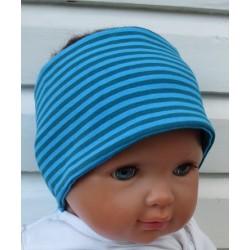 Stirnband Sport Kinder Jungen Jersey Sommer Blau Türkis Streifen genäht. Zum Wenden. Farbe, KU 36-55 cm
