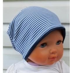 Baby Mütze Junge Maritim Blau Weiß Ringel Streifen aus Jersey genäht. Cool als Long Beanie für Kinder. KU 39-55 cm