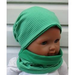 Mütze und Loop Schal Jungen Set Jersey Streifen Grün zum Wenden genäht. Fürs ganze Jahr. KU 39-55 cm