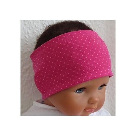Stirnband Sommer Baby Punkte Pink Rosa aus Jersey genäht. Eins mit Mittelteil, eine Beanie im Shop. KU 36-55