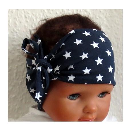 Stirnband Baby Sterne Dunkelblau Weiß aus Jersey genäht. Einfach zauberhaft. Farbe, KU 36-55 cm