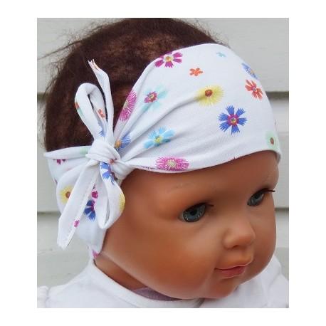 Stirnband Baby Blume Weiß aus Jersey breit genäht. Zauberhaft für Kinder. KU 36-55 cm