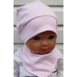 Sommermütze Baby Set Mädchen Dreieckstuch Rosa aus Jersey genäht. Eine Stirnband im Shop. Farbe, KU 39-55