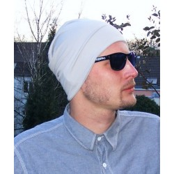 Beanie Mütze Männer in Grau aus Jersey zum Wenden genäht. Modisch als Long. Farbe, KU 54-65 cm