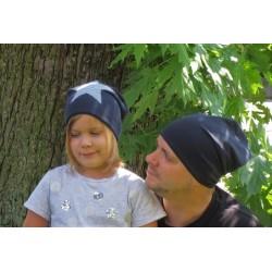 Beanie Mütze Männer aus Jersey Blau genäht. Modisch als Slouch Long. Partnerlook im Shop. Farbe, KU 54-65 cm