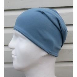 Sommermütze Herren Long Slouch Beanie Jeansblau aus Jersey zum Wenden genäht. Farben, KU 54-65 cm