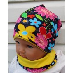 Beanie Mütze Kinder Set Bunt Mädchen mit Blumen aus Jersey zum Wenden genäht. Auch mit Fleece. KU 39-55 cm
