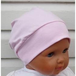 Sommermütze Mädchen Rosa aus Jersey genäht. Hübsch als Beanie mit Bund. Farbe, KU 39-55 cm