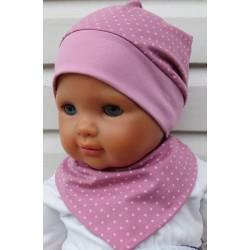 Sommermütze Baby Mädchen Set mit Dreieckstuch aus Jersey genäht. Damen Partnerlook, ein Stirnband im Shop. KU 39-55