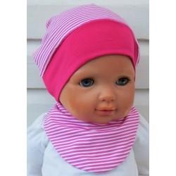 Sommermütze Kinder Set mit Dreieckstuch Mädchen geringelt Pink Weiß aus Jersey genäht. Farbe, KU 39-55 cm