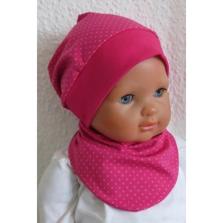 Beanie Mütze Baby Mädchen Set mit Dreieckstuch aus Jersey genäht. Pink mit Punkten. Farbe, KU 39-55 cm