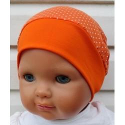 Sommermütze Kinder Mädchen Orange mit Punkten Weiß aus Jersey genäht. Mit Bund. Farbe, KU 39-55 cm