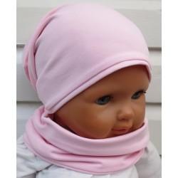 Beanie Mütze Mädchen Set Rosa Sommer Winter aus Jersey genäht. Toll fürs ganze Jahr. Farbe, KU 39-55