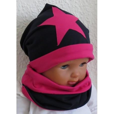 Mütze Schal Set Mädchen Pink Dunkelblau mit Stern genäht. Toll fürs ganze Jahr. Farben, KU 39-55 nach Wunsch