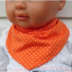Dreieckstuch Mädchen Sommer aus Jersey Orange mit Punkten Weiß zum Wenden genäht. Farbe, 0-8 Jahre