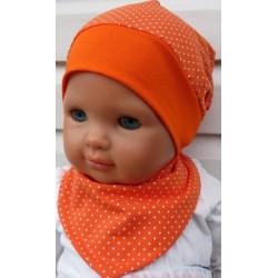 Sommermütze Baby Dreieckstuch Set Mädchen Punkte Orange Weiß aus Jersey genäht. Für Kids. Farbe, KU 39-55