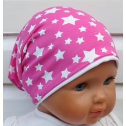 Jerseymütze Kinder Mädchen Pink Weiß mit Sternen genäht. Für den Sommer zum Wenden. Farbe, KU 39-55 cm
