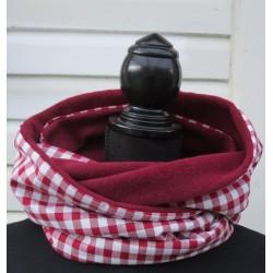 Schlauchschal Wendeschal Damen Rot kariert aus Baumwolle mit Fleece genäht. Farbe, Variante nach Wunsch.