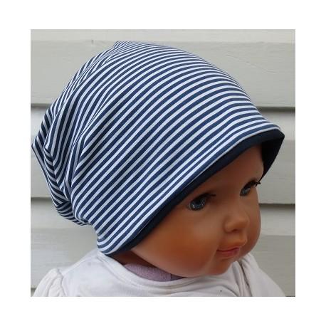Beanie Mütze Kinder Sommer Jungen Jersey Blau Weiß Streifen Ringel genäht. Toll als Long. Farbe, KU 39-55 cm