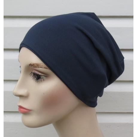 Jersey Beanie Mütze Damen Dunkelblau klassisch zum Wenden genäht. Modisch als Long. Farbe, KU 54-62 cm