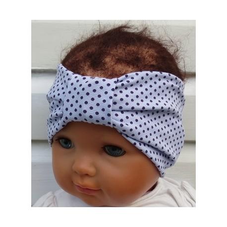 Stirnband Mädchen Sommer Jersey mit Punkten Flieder Lila genäht. Auch ohne Mittelteil. Farbe, KU 36-55 cm