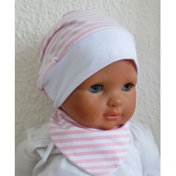 Sommermütze Mädchen Set Rosa Weiß gestreift aus Jersey genäht. 2-teilig so süss. Farbe, KU 39-55 cm
