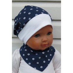 Mütze und Halstuch Baby Mädchen Set Blau Blumen Weiß aus Jersey genäht. Verschluß, KU 39-55 cm nach Wunsch