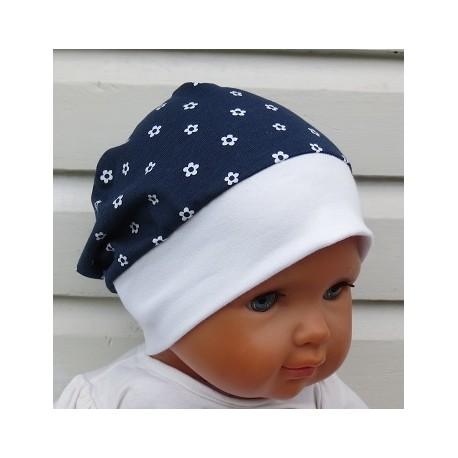 Sommermütze Baby Mädchen Blau Blumen Weiß aus Jersey mit Bund genäht. Super Süss. KU 39-55 cm nach Wunsch