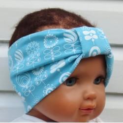 Haarband Sport Mädchen Jersey Blumen Türkis Blau Weiß Sommer genäht. Zauberhaft für Kinder. KU 36-55 cm