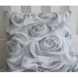 Landhaus Kissen Grau Rosen Vintage Shabby Chic aus Baumwolle genäht. Zauberhaft. 40x40, 45x45 cm nach Wunsch.
