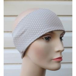 Stirnband Sommer Damen Partnerlook Beige mit Punkten aus Jersey genäht. Auch mit Mittelteil. Farbe, KU 54-62 cm