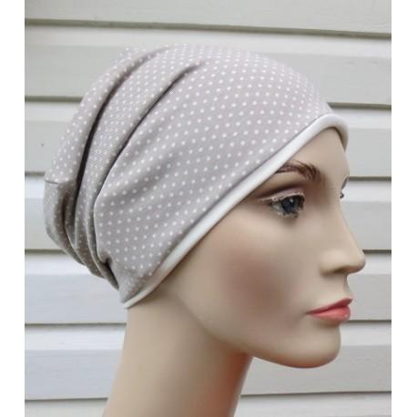 Sommer Beanie Damen Jersey Beige Punkte zum Wenden genäht. Mädels Partnerlook im Shop. Farbe, KU 54-62 cm
