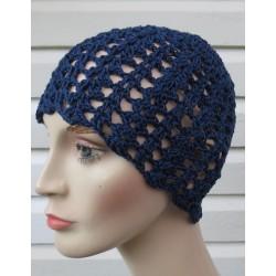 Häkel Beanie Mütze Sommer Damen Blau mit schönem Muster aus Baumwolle. Bezaubernd. Viele Farben, KU 54-62 cm
