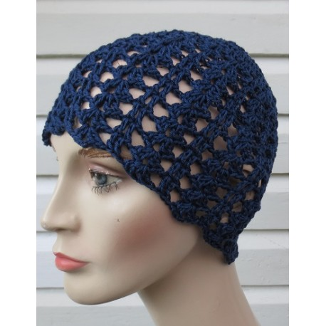 Häkelmütze Sommer Damen Blau mit schönem Muster aus Baumwolle. Handmade. Bezaubernd. Viele Farben, KU 54-62 cm