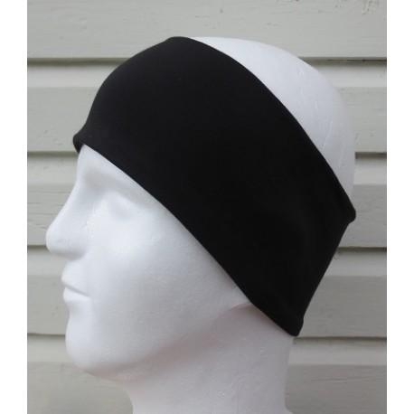 Stirnband Sport Herren Schwarz Schweißband elastisch aus Jersey zum Wenden genäht. Farbe, KU 54-65 cm