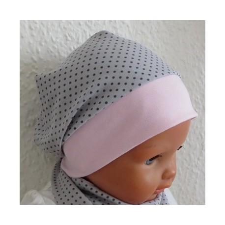 Sommermütze Baby Mädchen Beanie mit Bund Grau Punkte aus Jersey genäht. Farbe, KU 39-55 nach Wunsch.